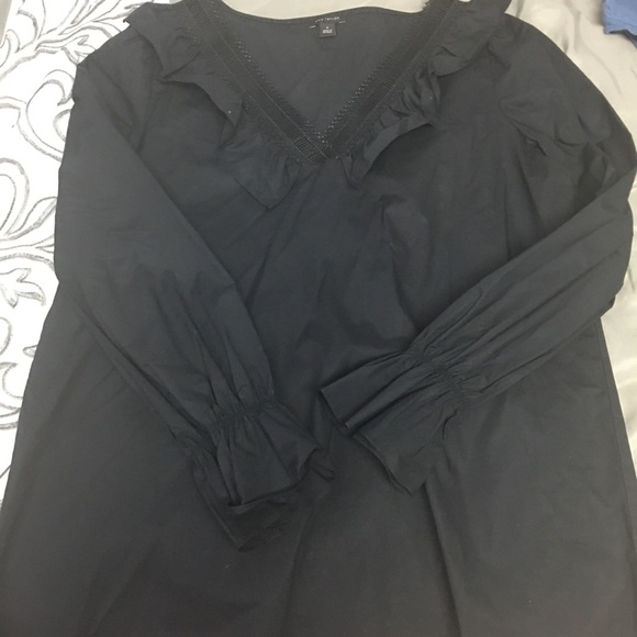 NWOT Ann Taylor Black Blouse with Lace Detail